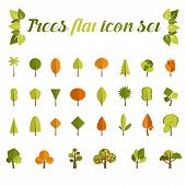 Tree icon set  in a modern style flat