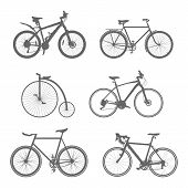 set of silhouettes bicycles