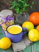 Lemon  Kurd  and citrus on the table. soft focus