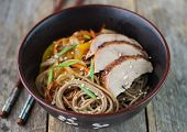 picture of buckwheat  - buckwheat noodles with vegetables - JPG