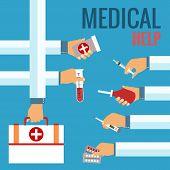 Flat design concepts for medical care