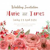 image of greeting card design  - Flower wedding invitation card save the date card greeting card - JPG