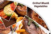Collage From Different Photoes Of Grilled Meat