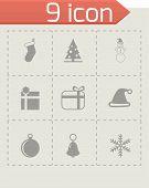 Vector black christmas icon set