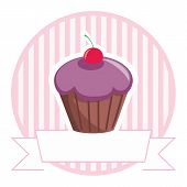 Vector cupcake on stripes background shop icon