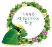 foto of leprechaun hat  - leprechaun hat and gold coins on clover background with round place for text. 