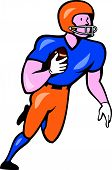 American Football Player Rusher Run Cartoon