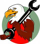 American Bald Eagle Mechanic Wrench Circle Cartoon