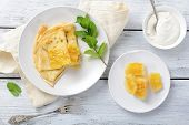 Pancakes With Sour Cream And Mint