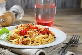 Spigetti With Fried Tomato And Mushrooms
