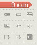 Vector black exit icon set