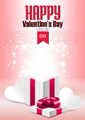 Open Gift Box With Shine, Romantic Valentine's Day Vector Illustration