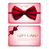 Gift Cards With Red Bow. Vector Illustration. Voucher, Certificate