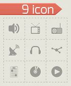 Vector black media icons set