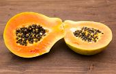 Papaya on wood