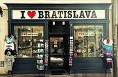 Gift And Souvenirs Shop In Old Town Of Bratislava, Slovakia.