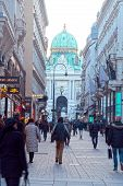 Main Pedestrian Street Graben And Hofburg Palace In Vienna, Austria