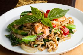 stock photo of lo mein  - Thai food shrimp stir fry with lo mein noodles Shallow depth of field - JPG