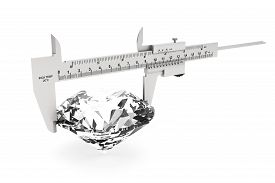 pic of vernier-caliper  - Metal Vernier Caliper with Diamond on a white background - JPG