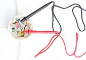 foto of  multimeter  - The plastic electrical box with cable multimeter - JPG