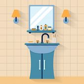 stock photo of bathroom sink  - Bathroom sink with mirror - JPG