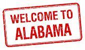 pic of alabama  - welcome to Alabama red grunge square stamp - JPG