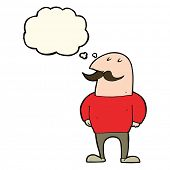 pic of bald man  - cartoon bald man with mustache with thought bubble - JPG