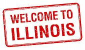 pic of illinois  - welcome to Illinois red grunge square stamp - JPG