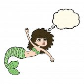 stock photo of mermaid  - cartoon pretty mermaid waving with thought bubble - JPG