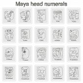 picture of glyphs  - Set of monochrome icons with Maya head numerals  glyphs for your design - JPG