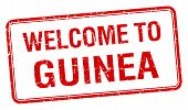 pic of guinea  - welcome to Guinea red grunge square stamp - JPG