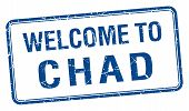 foto of chad  - welcome to Chad blue grunge square stamp - JPG