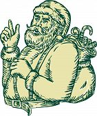 picture of nicholas  - Etching engraving handmade style illustration of santa claus saint nicholas father christmas with sack in his back pointing upwards viewed from the side set on isolated background - JPG