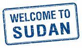 stock photo of sudan  - welcome to Sudan blue grunge square stamp - JPG