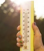 pic of fahrenheit thermometer  - Hand is holding a thermometer in air - JPG