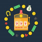 stock photo of slot-machine  - Slot machine logo or icon  - JPG