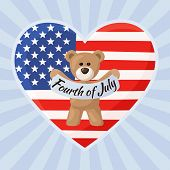 picture of teddy  - Teddy Bears with heart with flag of United States - JPG