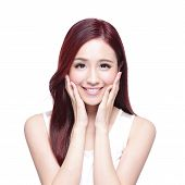 stock photo of charming  - Beauty woman with charming smile to you with health skin teeth and hair isolated on white background asian beauty - JPG
