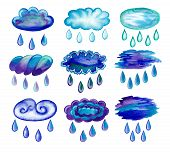 stock photo of raindrops  - Watercolor painted rainy clouds - JPG