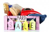 image of yard sale  - Crate of unwanted stuff ready for yard sale isolated on white - JPG