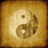 Grunge Yin Yang Symbol Background.
