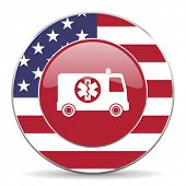 stock photo of ambulance  - ambulance american icon original modern design for web and mobile app on white background  - JPG