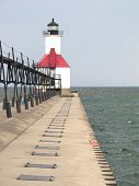 stock photo of pier a lake  - At the mouth of the St - JPG