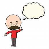 picture of bald man  - cartoon bald man with idea with thought bubble - JPG