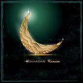 image of crescent  - shiny filigree decorative crescent moon and stars over dark grunge background for holy month of muslim community Ramadan Kareem - JPG