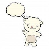 foto of bear cub  - cartoon waving polar bear cub with thought bubble - JPG
