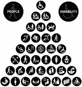 pic of disabled person  - Black and white disability and people related pyramid graphics collection isolated on white background - JPG