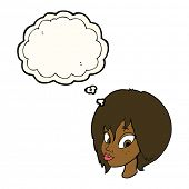 pic of pouting  - cartoon pretty female face pouting with thought bubble - JPG
