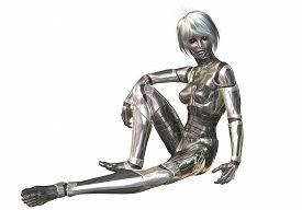picture of cyborg  - Digital 3D Illustration of a female Cyborg - JPG