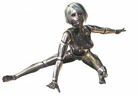 stock photo of cyborg  - Digital 3D Illustration of a female Cyborg - JPG